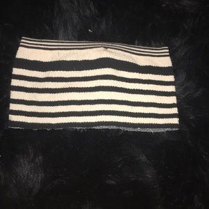 Black and white striped tube top.